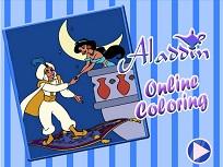 Coloreaza cu Aladdin si Jasmin