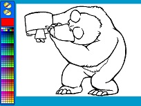 Coloreaza-i pe Masha si Ursul