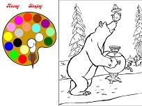 Imagine de Colorat cu Ursul si Masha