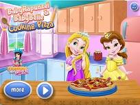 Micutele Rapunzel si Belle Fac Pizza
