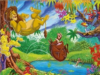 Puzzle cu Simba si Pumba