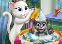 Angela face baie la bebelus